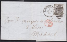 Great Britain  . Yvert  .    52 On  Letter .    (2 Scans)    .  O  .   Cancelled      .   /  .   Gebruikt - 1840-1901 (Victoria)
