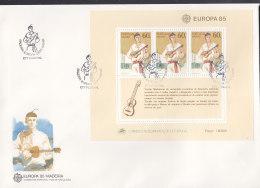 EUROPA CEPT:  PORTUGAL MADEIRA BLOCK 6, FDC, Europäisches Jahr Der Musik, 1985 - Europa-CEPT