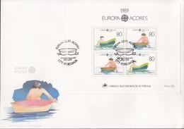 PORTUGAL AZOREN Block 10 FDC, EUROPA CEPT 1989, Kinderspiele - Europa-CEPT