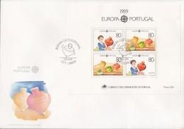 PORTUGAL Block 64 FDC, EUROPA CEPT 1989, Kinderspiele - Europa-CEPT