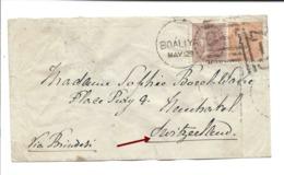 INDIA 1879 - SWITZERLAND, BOALIYA, SEA POSTOFFICE,Via Brindisi, One Anna + 2 Annas On Little Cover To Neuchâtel Suisse - Indien (...-1947)