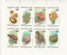 1992 Chile Easter Island Marine Life Seal Lobster Fish Miniature Sheet Of 8 MNH - Chile