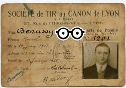 Homme Man Carte Photo Identité Photomaton Société Tir Au Canon LYON BENASSY 30s RARE - Zonder Classificatie
