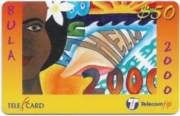 Fiji - Telecom Fiji - Bula 2000, Girl's Face, Cn.99041, Remote Mem. 50$, Used - Fidji
