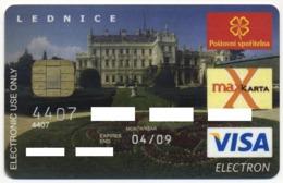 CZECH REPUBLIC CSOB BANK VISA ELECTRON CARD PALACE IN LEDNICE TOWN EXP. APRIL 2009 - Cartes De Crédit (expiration Min. 10 Ans)