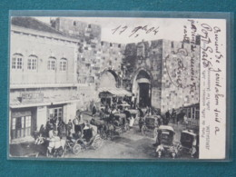 "Egypt (Israel) 1904 Postcard ""Jerusalem - Jaffa Gate"" Port Said To France - Pyramid And Sphinx Stamp - Egitto"