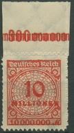 Deutsches Reich 1923 Korbdeckel Platten-Oberrand 318 BP OR B Postfrisch - Deutschland