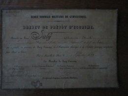 JOINVILLE-LE-PONT LE 3 SEPTEMBRE 1877 BREVET DE PREVÔT D'ESCRIME DECERNE AU SIEUR LABY ANTOINE NOËL SOLDAT AU 136e REGIM - Esgrima