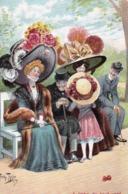 Belle Fantaisie :  Femmes Et Enfants Avec Grands Chapeaux Hats,  à L'abri ...       Edition   F. E.D. 379/4  Non Voyagée - Mode