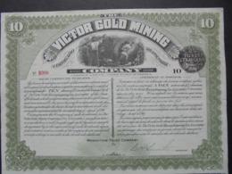 USA - MANHATTAN 1898 - VICTOR GOLD MINING - TITRE DE 10 ACTIONS DE 5 DOLLARS - BELLE VIGNETTE - Azioni & Titoli