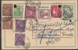 INFLA:  DR P 140 I/015 Mit 142a, 143a, 158, 2x 161, 166, 2x 224a FernPK Mit Stl: Friedrichshafen 16.NOV.1922, Postreiter - Deutschland