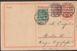 INFLA:  DR P 141 I/005 Mit ZFr. 140 A, 162, Ortsgebühr, Mit Stempel: Berlin N54g 3.1.1922, Postreiter - Infla