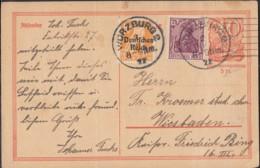 INFLA:  DR P 141 I/007 Mit ZFr. 120, 148 II, Fernporto, Mit Stempel: Würzburg 2.MRZ 1922, Postreiter - Infla
