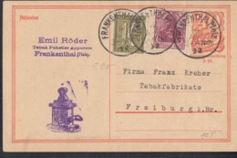INFLA:  DR P 141 I/007 Mit ZFr. 148 II, 159 A Fernporto, Mit Stempel: Frankenthal 4.APR 1922, Postreiter - Infla
