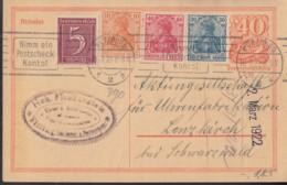 INFLA:  DR P 141 I/007, ZFr. 141, 144 II, 145 A II, 158, FernPK, Gelh-St (Filbrandt 2.1b)  Würzburg 28.2.1922 Postreiter - Infla