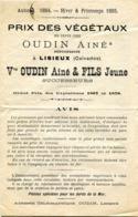 PEPINIERES OUDIN à Lisieux. Prix Des Végétaux 1884 - 1885 - Agriculture