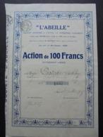 FRANCE - LOT ET GARONNE, AGEN 1923 6 L'ABEILLE  - ACTION DE 100 FRS - BELLE FRISSE - Azioni & Titoli