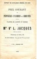 PEPINIERES L. JACQUES à Rennes Prix Courant 1885 - Agriculture