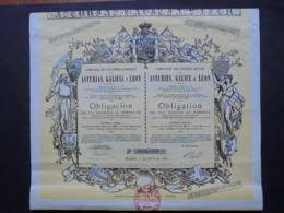 ESPAGNE - MADRID 1880 - CIE DES CHEMIN DE FER, ASTURIES, GALICE ET LEON - OBLIGATION DE 500 FRS - BELLE DECO - Unclassified