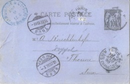 PK  Paris 81 R.des Capucines - Bern - Thun           1890 - 1876-1898 Sage (Type II)