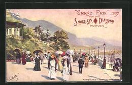 AK Monte-Carlo, Terrasses Du Casino Grand Prix 1907 Won With Smokeless Diamond Powder, Reklame Für Munition - Hunting