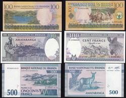 RUANDA - RWANDA 100,100,500 Francs Banknoten 1989,1994,2003 UNC (1) - Billetes