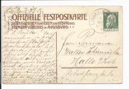 Bayern PP 27 C 12 - 5 Pf Luitpold, Augsburg, Großstadtfeier V. Lindau N. Halle/S. Bedarfsverwendet - Stamped Stationery