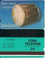 TURKEY - Turk Halk Calgilari/Nagara(30 Units, Abacicard), 01/01, Used - Turquie
