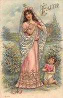 "Embossed ""Faith"" Religious Illustration Cherub Angel Roses Floral Heart - Cartes Postales"