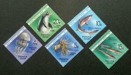 USSR Russia 1991 Marine Life Mammals Fauna Fish Fishes Dolphins Sealife Sea Whales Stamps MNH Mi 6158-6162 Scott#5954-58 - Marine Life