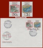 Macau Macao #234 1982  Macau Geografical Fdc And  2 Stamps Mnh - 1999-... Región Administrativa Especial De China