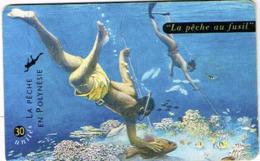 Polynesie Francaise Tahiti Telecarte Phonecard Prepaid PF76 La Peche Au Fusil Poisson Corail Recif Plonger Ut BE - Polynésie Française