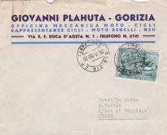 BUSTA VIAGGIATA - GORIZIA - OFFICINA MECCANICA MOTO - CICLI - DI GIOVANNI PLAHUTA - VIAGGIATA - UDINE - 6. 1946-.. Republic
