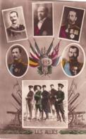 """Militaria -GUERRE 1914-18 -  Carte Fantaisie Patriotique 1915 """"LES ALLIÉS """" Avec Le Roi Des Belges , Le Tsar NICOLAS II - Patriotiques"""