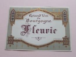 FLEURIE Grand Vin De Bourgogne ( N° 387 - Wetterwald ) Etiket / Etiquette / Label ( > Photo > DETAIL ) ! - Bourgogne