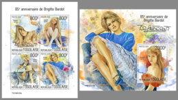 TOGO 2019 MNH Brigitte Bardot Cinema Kino Film M/S+S/S - OFFICIAL ISSUE - DH1933 - Cinéma