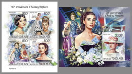 TOGO 2019 MNH Audrey Hepburn Cinema Kino Film M/S+S/S - OFFICIAL ISSUE - DH1935 - Cinéma