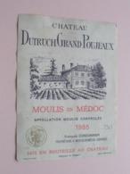 """Château DUTRUCH Grand POUJEAUX """" 1985 """" ( François Cordonnier ) Etiket / Etiquette ( Voir Photo ) ! - Etiquettes"""