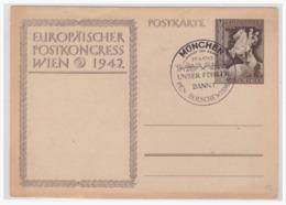"""Dt- Reich (004735) Ganzsache Mit Propaganda Sonderstempel München """"Unser Führer Bannt Den Bolschewismus"""" Am 20.4.1943 - Alemania"""