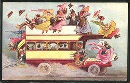 Künstler-AK Sign. Cynicus: Reisebus Voller Paare, Scherz - Bus & Autocars