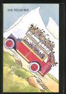 AK Autobus Fährt Mit Vielen Gästen Bergauf, The Welsh Bus - Bus & Autocars