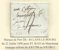 MARQUE CONQUIS MONT BLANC 84 LANSLEBOURG  GRANDE MARQUE LETTRE SANS CORRESPONDANCE - Marcophilie (Lettres)