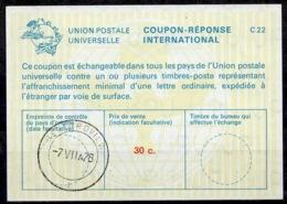 SOUTH AFRICA / AFRIQUE DU SUD La22A 30c.International Reply Coupon Reponse IRC IAS Antwortschein O BEDFORDVIEW 7.7.78 - Briefe U. Dokumente