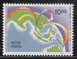 India MNH 1995, Asian Pacific Postal Training, Bangkok, Philately, Globe, Map, - India