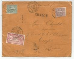 MERSON 40C+ SEMEUSE 20C+15C LIGNEE LETTRE CHARGE SANCOINS CHER 20 NOV 1905 - Storia Postale