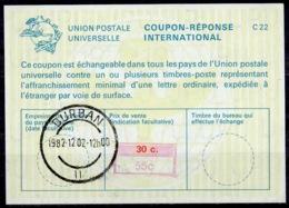 SOUTH AFRICA / AFRIQUE DU SUD La22J Handstamp 55c / 30c.Int. Reply Coupon Reponse IRC IAS Antwortschein O DURBAN 2.12 - Briefe U. Dokumente