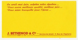 Buvard 21 X 10.5 J. BETHENOD & Cie 9 Rue De L'Egalerie Paris  Charbon - Carte Assorbenti