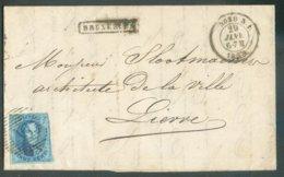 N°11A - Médaillon 20 Centimes Bleu, Touché En Haut à Droite Sinon Bien Margé, Obl. Ambulant N.I. Sur Lettre De BRUXELLES - 1858-1862 Medallions (9/12)