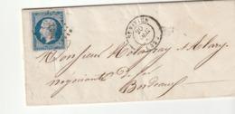 Lettre Avec Classiques De France: Napoléon N°14 Avec Petits Chiffres 3308 St Vivien (Gironde) - 1853-1860 Napoléon III.