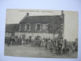 CPA Saint Aubin Sous Erquery.60. Oise. Route De Clermont. Belle Animation. Café - Other Municipalities